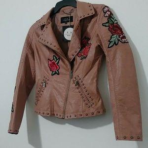 Jackets & Blazers - Coalition LA Embroided Vegan Leather Biker Jacket